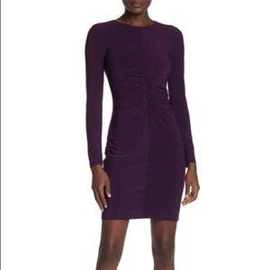 Vince Camuto Shirred Long Sleeve Dress Plum Sz 4